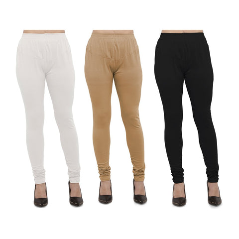 White,Beige And Black Color Cotton Lycra Leggings - LEG-CMB-WHT-BIG-BLK