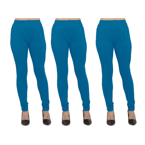 Aqua Color Cotton Lycra Legging - LEG-PO3-AQU