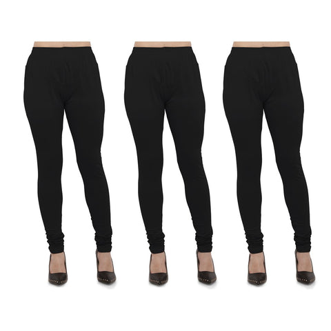 Black Color Cotton Lycra Legging - LEG-PO3-BLK