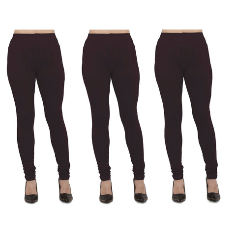 Brown Color Cotton Lycra Legging - LEG-PO3-BRN