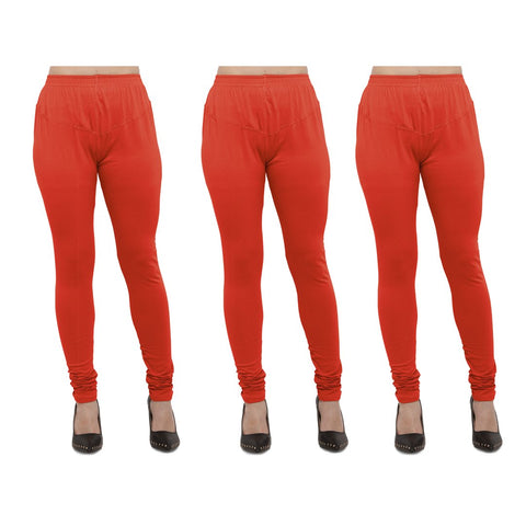 Carrot Red Color Cotton Lycra Legging - LEG-PO3-CRED