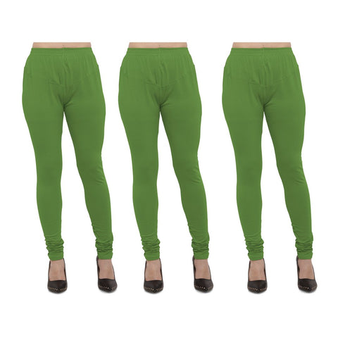 Light Green Color Cotton Lycra Legging - LEG-PO3-LGRN