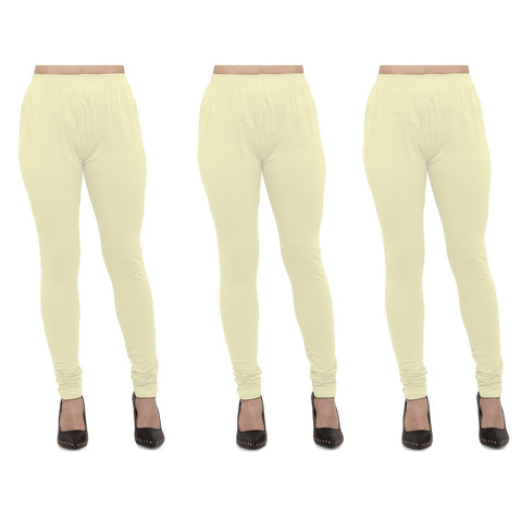 Light Yellow Color Cotton Lycra Legging - LEG-PO3-LYLW