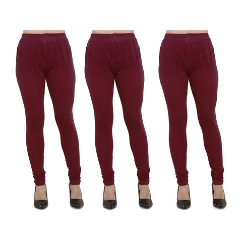 Maroon Color Cotton Lycra Legging - LEG-PO3-MRN