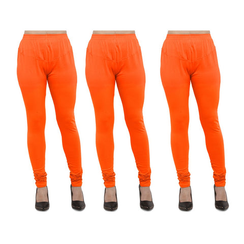 Orange Color Cotton Lycra Legging - LEG-PO3-ORN