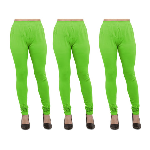 Parrot Green Color Cotton Lycra Legging - LEG-PO3-PGRN