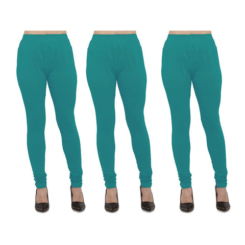 Turquoise Color Cotton Lycra Legging - LEG-PO3-TUR