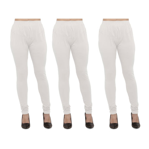 White Color Cotton Lycra Legging - LEG-PO3-WHT
