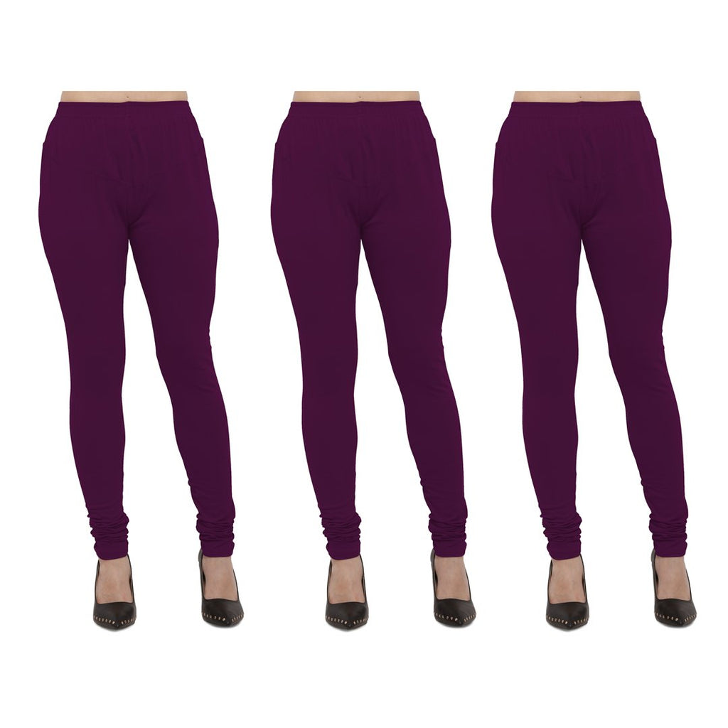 Buy Wine Color Cotton Lycra Legging