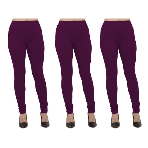 Wine Color Cotton Lycra Legging - LEG-PO3-WNE