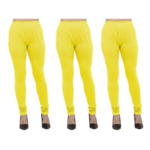 Yellow Color Cotton Lycra Legging - LEG-PO3-YLW