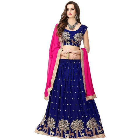RoyalBlue and Pink Color Banglori Silk Semi Stitched Lehenga  - LEHENGA178