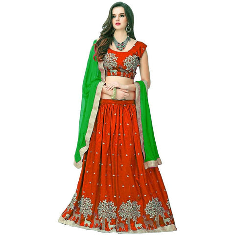 Orange and Green Color Banglori Silk Semi Stitched Lehenga  - LEHENGA180