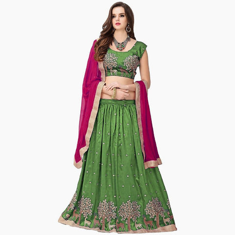 Green and Pink Color Banglori Silk Semi Stitched Lehenga  - LEHENGA182