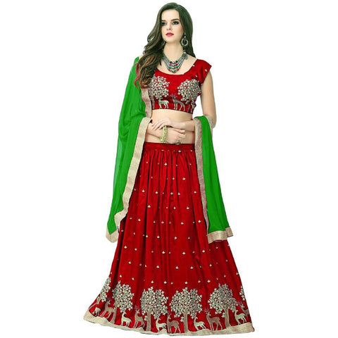 Red and Green Color Banglori Silk Semi Stitched Lehenga  - LEHENGA183