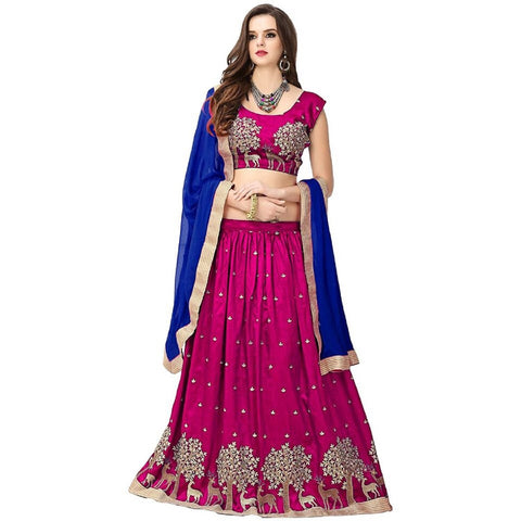 Pink and Blue Color Banglori Silk Semi Stitched Lehenga  - LEHENGA184