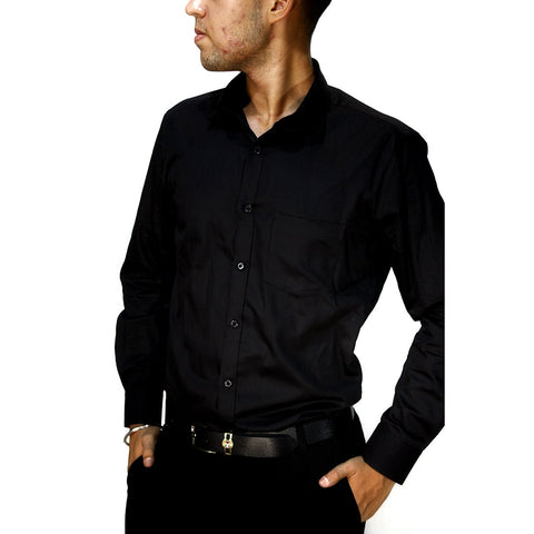 Black Color Cotton Mens Shirt - LEVASTRAM-black