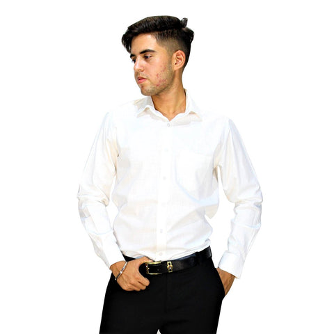 White Color Cotton Mens Shirt - LEVASTRAM-white