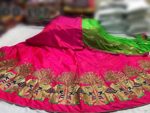Pink Color Paper Silk Stitched Lehenga - LF118