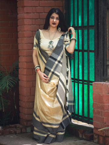 OffWhite Color Cotton Saree - LF12