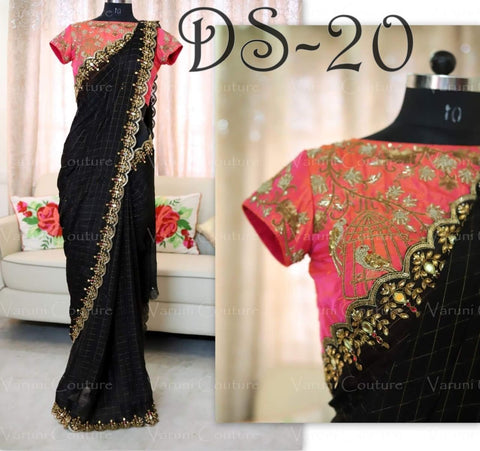 Black Color Chanderi Cotton Saree - LF22