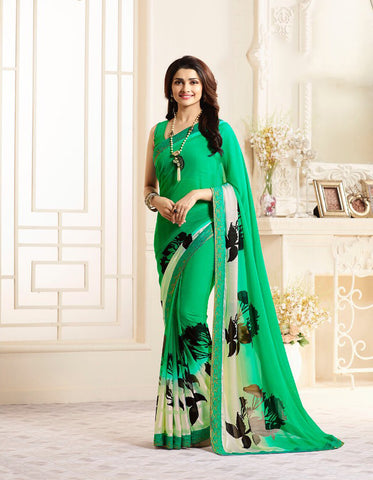 Green Color Major Georgette Saree - LF263