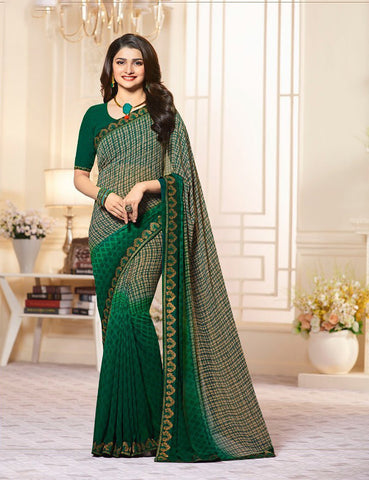 Green Color Major Georgette Saree - LF266