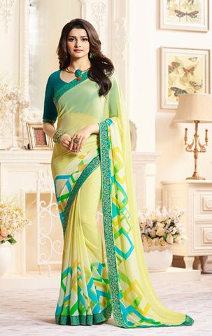 Light Yellow Color Major Georgette Saree - LF269