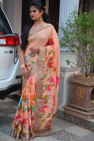 Peach Color Soft Kota Saree - LF279