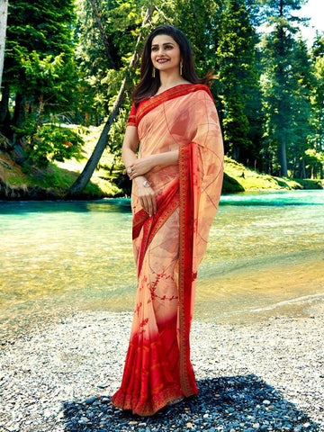 Cream and Red Color Georgette Saree - LF291