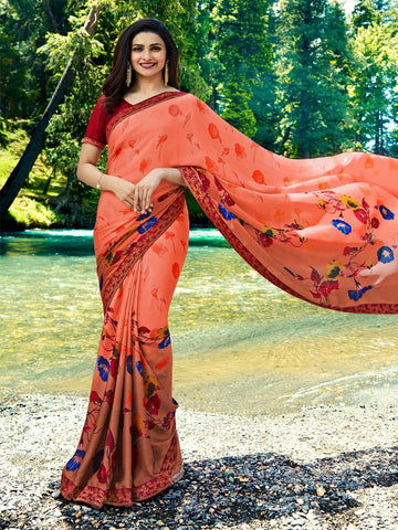 Peach Color Georgette Saree - LF295