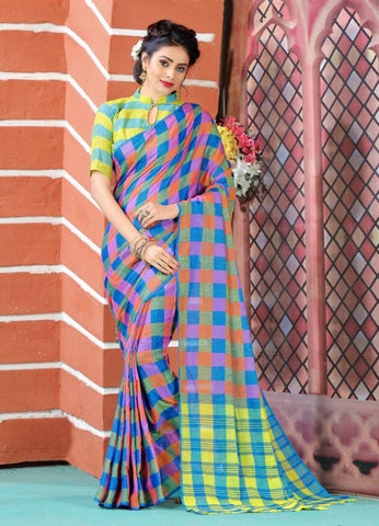 Multi Color Soft And Pure Linen Saree - LF301
