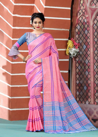 Pink Color Soft And Pure Linen Saree - LF302