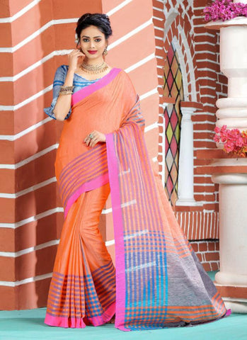 Peach Color Soft And Pure Linen Saree - LF303