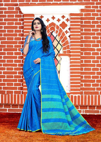 Blue Color Soft And Pure Linen Saree - LF304
