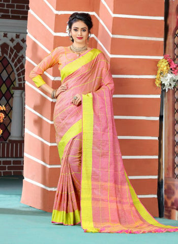 Peach Color Soft And Pure Linen Saree - LF305