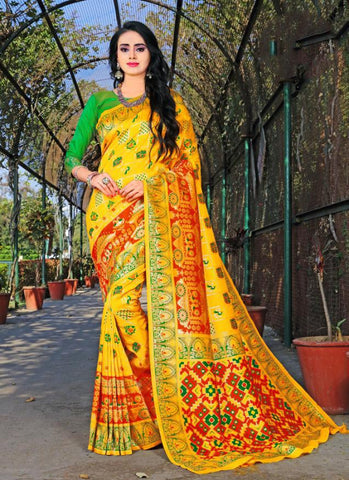 Yellow Color Banasari Patola Silk  Saree - LF306