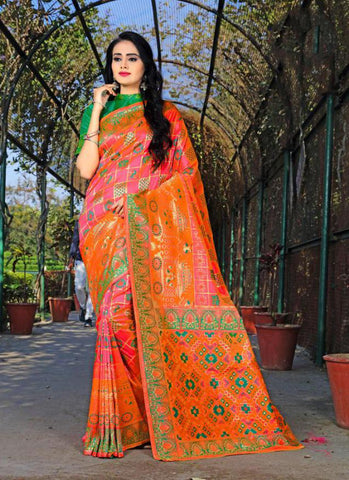 Pink Color Banasari Patola Silk  Saree - LF307