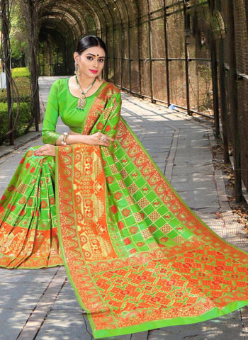 Green Color Banasari Patola Silk  Saree - LF308