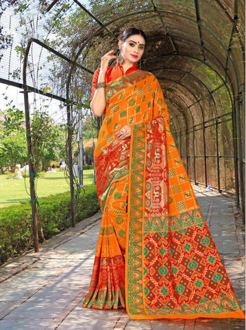 Orange Color Banasari Patola Silk  Saree - LF309