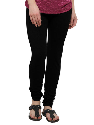 Black Color Cotton Legging - LGC724-Top