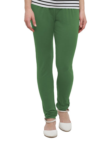 Green Color Cotton Legging - LGC733-Top