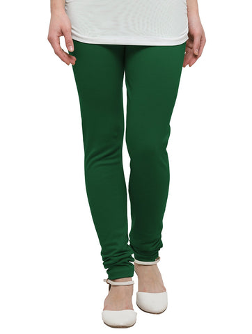 Green Color Cotton Legging - LGC735-Top