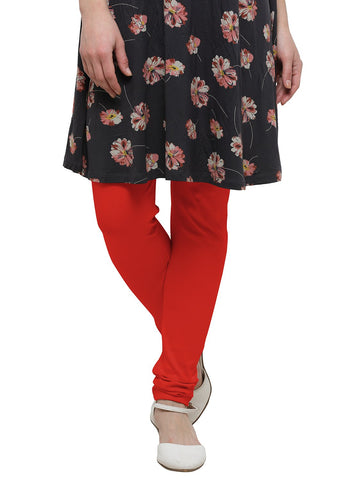 Red Color Cotton Legging - LGC736-Top