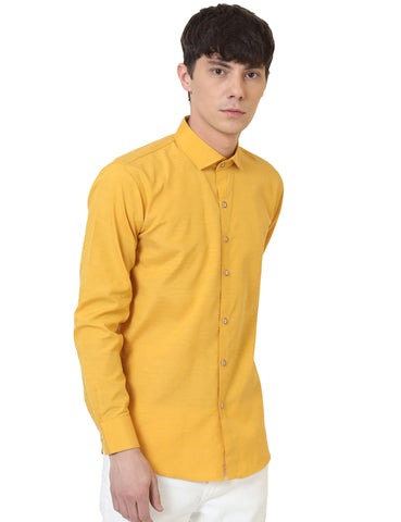 Mustard Color Cotton Linen Solid Men Shirt - LION20191