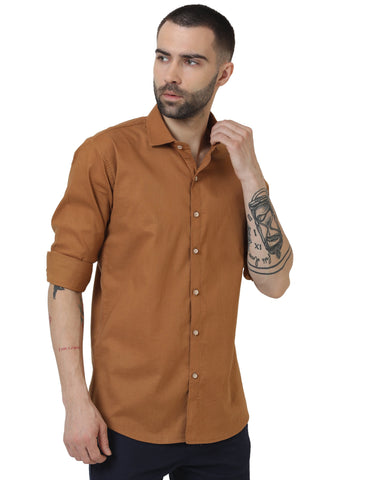 Brown Color Cotton Linen Solid Men Shirt - LION20192