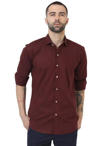 Maroon Color Cotton Linen Solid Men Shirt - LION20193
