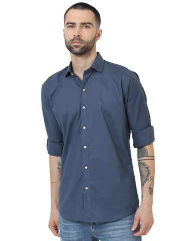 Blue Color Cotton Linen Solid Men Shirt - LION20194