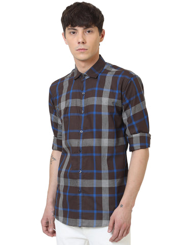 Brown Color Cotton Checked Men Shirt - LION2019C1