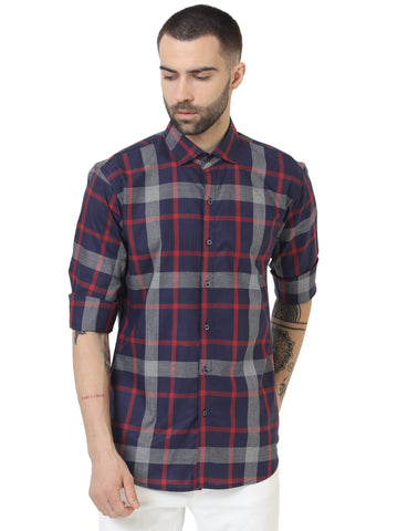 Navy Blue Color Cotton Checked Men Shirt - LION2019C2